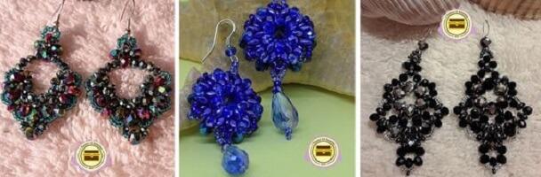 Orecchini con perline e cristalli fatti a mano a Verona. Gioielli e bigiotteria realizzati a mano