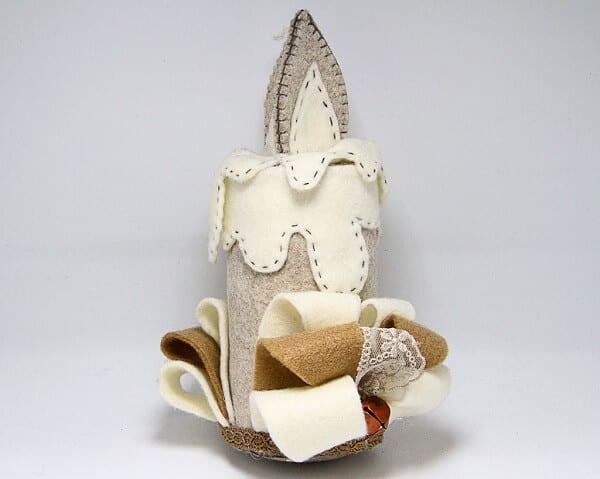Candela in feltro fatta a mano, decorazioni artigianali realizzate a mano a Verona