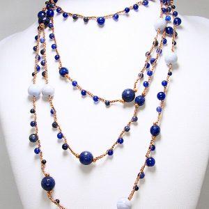 Collana fatta a mano uncinetto cotone lamè pietre semipreziose gioielli realizzati a mano Verona