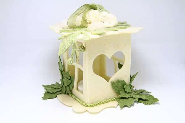 Lanterna in feltro fatta a mano, decorazioni artigianali realizzate a mano a Verona. Idea regalo