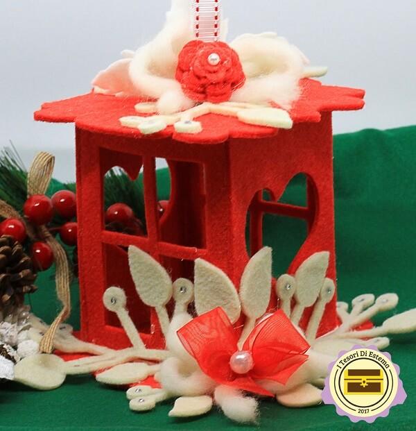 Lanterna in feltro realizzata a mano, decorazioni fatte a mano a Verona. Idea regalo artigianale.