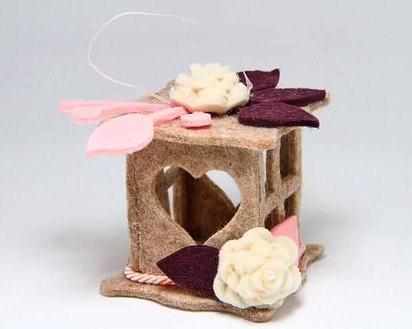 Lanterna piccola in feltro fatta a mano, decorazioni artigianali realizzate a mano a Verona