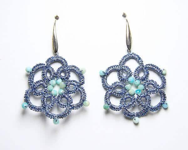 Orecchini fatti a mano in chiacchierino e amazonite, gioielli artigianali realizzati a mano a Verona