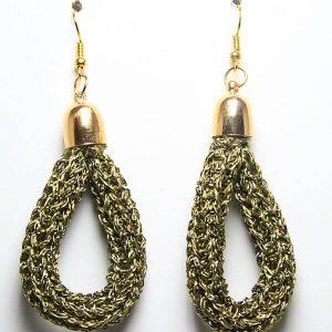 Orecchini fatti a mano in punto tricot cotone lamè gioielli artigianali realizzati a mano Verona