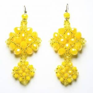 Orecchini fatti a mano in tessitura di cristalli, gioielli artigianali realizzati a mano a Verona