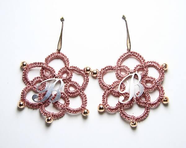 Orecchini in chiacchierino fatti a mano ematite oro, gioielli artigianali realizzati a mano a Verona