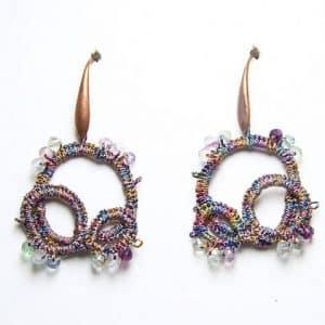 Orecchini in chiacchierino fatti a mano fluorite, gioielli artigianali realizzati a mano a Verona