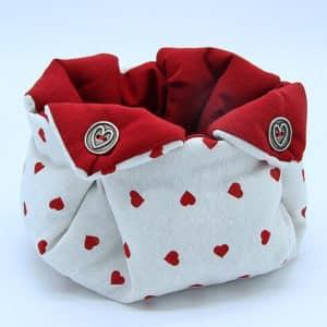 Cestino portaoggetti in stoffa fatto a mano e bottoni con cuori, decorazioni artigianali Verona