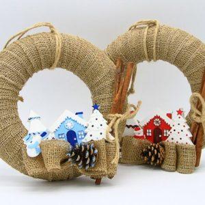 Ghirlanda natalizia fatta a mano in juta villaggio di Natale in gesso decorazioni artigianali Verona