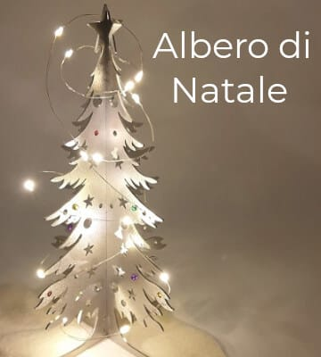 Albero di Natale in acciaio inox con luci. Decorazione natalizia e idra regalo per il Natale