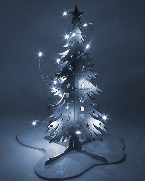 Albero di Natale in acciaio inox luci. Decorazione natalizia. Idea regalo di Tesori di Estema Verona