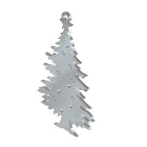 Ciondolo Albero di Natale in acciaio inox. Charms natalizio in metallo per gioielli che decorazioni